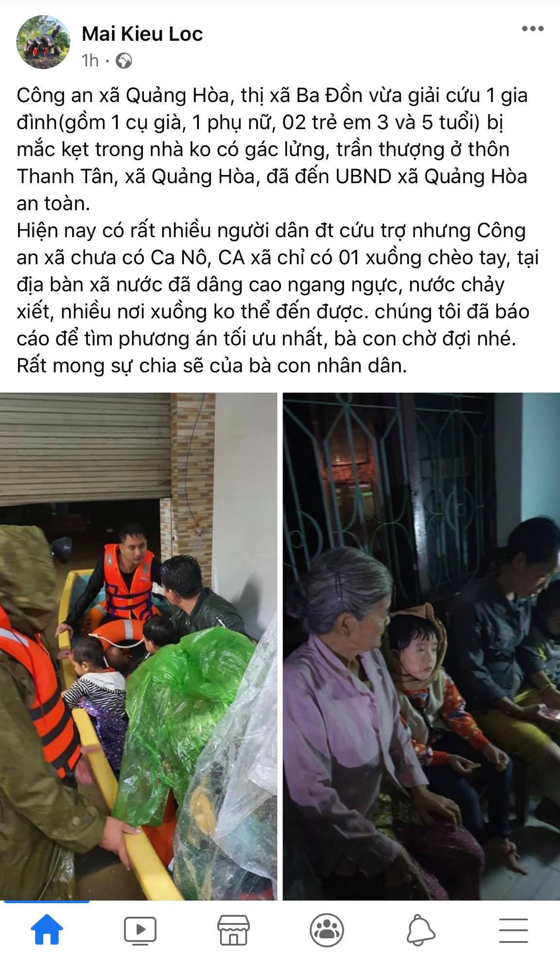 Công an xã Quảng Hòa trắng đêm cứu hộ bà con, nhưng vẫn còn nhiều nơi nước chảy xiết chưa thể tiếp cận (Ảnh: Mai Kiều Lộc)