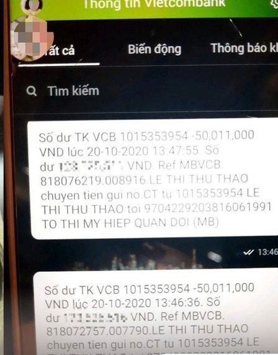 Sau 2 cuộc điện thoại, tài khoản của chị Thảo bị trừ 100 triệu đồng.