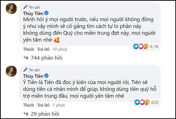 Thủy Tiên đáp lời cô sẽ dùng tiền cá nhân để giúp đỡ người dân Việt Nam tại Nhật Bản, còn số tiền cứu trợ miền Trung sẽ được sử dụng đúng với mục đích ban đầu