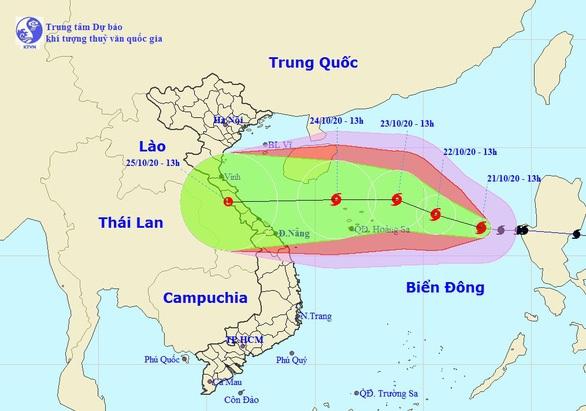 Đường đi của bão mới nhất - Ảnh: Trung tâm dự báo khí tượng thủy văn quốc gia