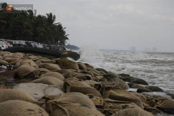 Tại biển Cửa Đại, thành phố Hội An sóng bắt đầu mạnh dần.