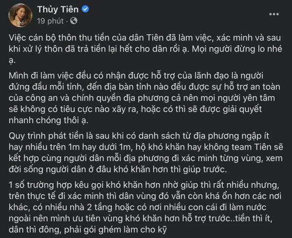 Chia sẻ chính thức của Thủy Tiên về ồn ào cán bộ thôn thu tiền hỗ trợ dân vừa qua.