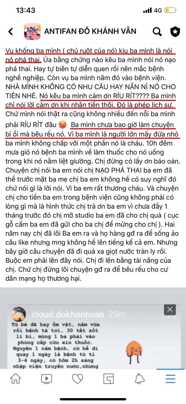 Netizen tự xưng có ba là chú ruột của Khánh Vân, 'tố' cô nói dối, vu khống