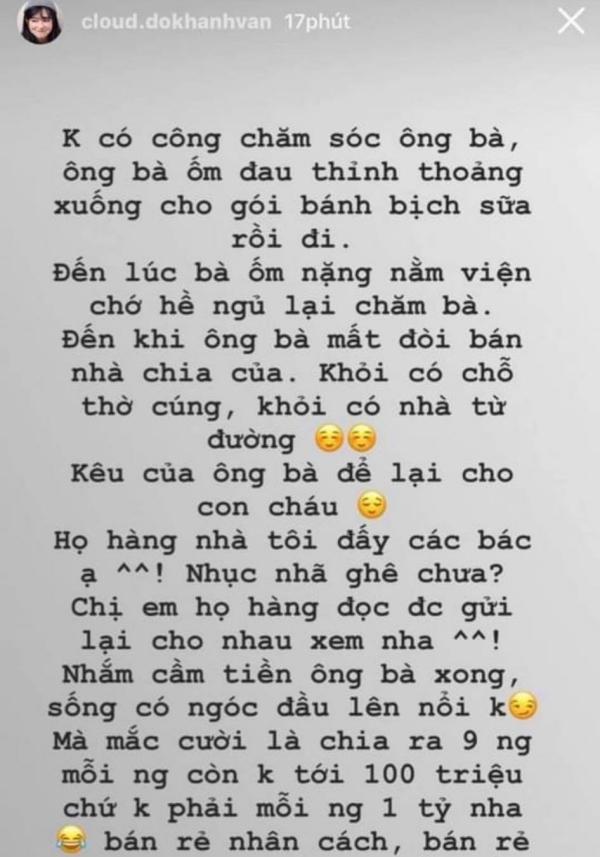 Story của Khánh Vân đi kèm với status 'bóc phốt'