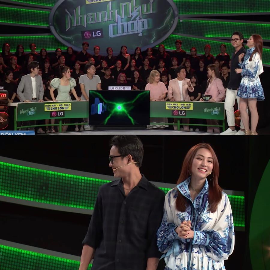 Hari Won và Trường Giang bất ngờ đổi vị trí trong tập phát sóng gần nhất của Nhanh như chớp.