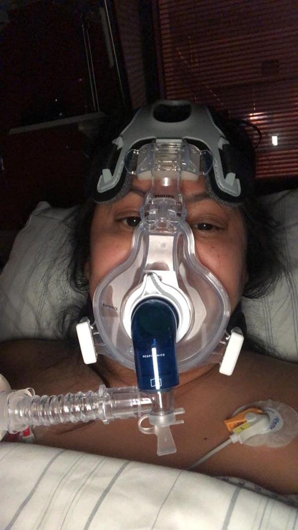 Hình ảnhBrittanya Karma chia sẻ khi đang chống chọi với dịch Covid-19.