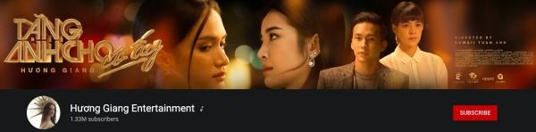 Chanel (kênh) youtube của Hương Giang đang có 1.33 triệu người theo dõi, với nhiều MV chục triệu views.