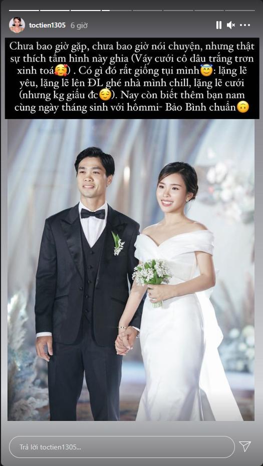 Tóc Tiên bày tỏ sự yêu thích với tấm ảnh cưới của Công Phượng - Viên Minh