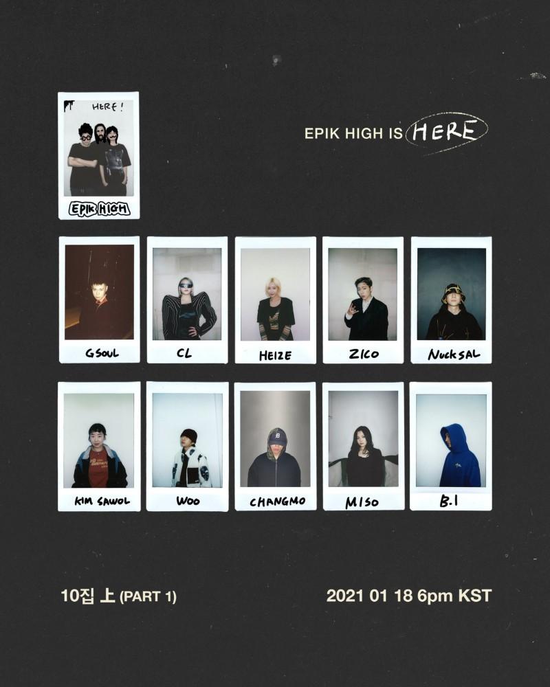 Hanbin (B.I, dưới cùng bên tay phải) có mặt trong danh sách các nghệ sĩ góp giọng album mới của Epik High.