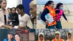 Sao Việt dầm mưa, bị lật thuyền khi cứu trợ người dân miền Trung