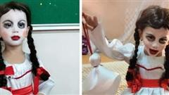 Halloween mẹ hóa trang cho con thành Annabelle 'chất' nhất lớp, khi tẩy trang ai cũng ngỡ ngàng