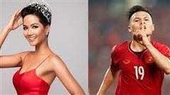 H'Hen Niê tự nhận là 'cô' khi đứng cạnh cầu thủ Quang Hải