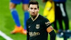 Messi biểu cảm thất vọng vì hàng thủ sai lầm khiến Barca thua đội mới lên hạng