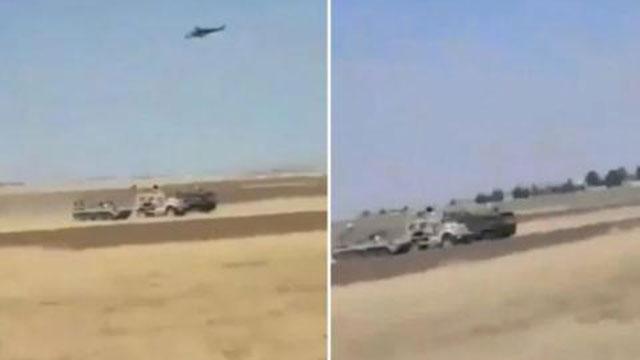Mi-35 yểm trợ BTR-82A đâm húc xe Mỹ gần mỏ dầu Syria