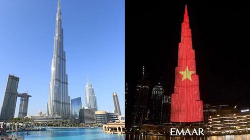 Tự hào: Quốc kỳ Việt Nam phủ kín tòa tháp cao nhất thế giới
