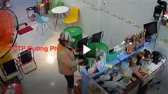 Màn trộm tiền và điện thoại tinh vi của người phụ nữ trong tiệm giải khát