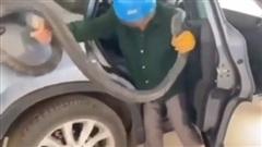 Người đàn ông bóp đầu rắn hổ mang dài 2m lôi ra khỏi chiếc xe con