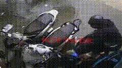 [Clip] Trời mưa tầm tã, tên trộm táo tợn cố bẻ khoá cả dàn xe máy dựng trên vỉa hè