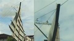 Bão Saudel cuốn phăng mái tôn nhà xưởng lên dây điện cao thế
