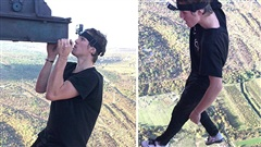 Thanh niên liều lĩnh, treo người ở độ cao 340 m bằng… một tay