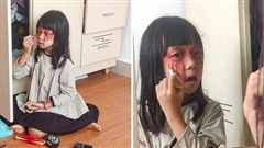 Tham gia tiệc Halloween ở lớp, bé gái lớp 2 tự ngồi trang điểm, thành quả ít phút sau khiến ai nấy ôm tim thở hổn hển