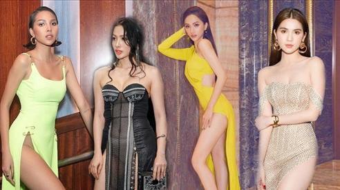 Diện váy xẻ cao ngút trời: Ngọc Trinh che chắn khổ sở, Hà Anh dính 'tai nạn' phản cảm