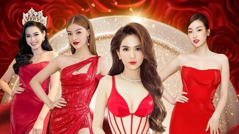Ngọc Trinh, Đỗ Thị Hà chưng diện váy đỏ cắt xẻ khoe hình thể dự tiệc cuối năm
