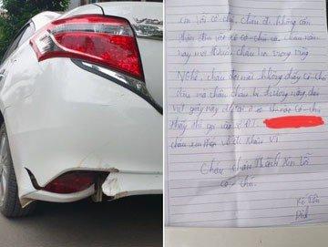 Lỡ đâm trúng ô tô đậu ven đường, nam sinh 16 tuổi để lại lời nhắn khiến ai cũng 'yêu thương'