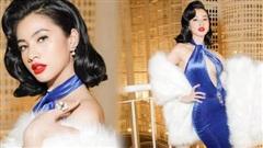 Tình trẻ chồng cũ Lệ Quyên hóa thành Marilyn Monroe với váy khoét ngực sâu đến rốn