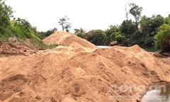 San ủi đất rừng để mở đường khai thác cát lậu ở biên giới