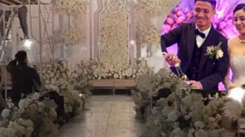 Hình ảnh đầu tiên của đám cưới Tiến Dũng và Khánh Linh ở Bắc Ninh: Toàn bộ trang trí bằng hoa hồng bạch