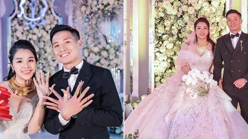Khoảnh khắc thú vị hậu lễ cưới của đám cưới trung vệ Bùi Tiến Dũng: 2 vợ chồng thi nhau khoe vàng đầy tay ngập cổ, tiết lộ sốc về chiếc váy cưới tiền tỉ của cô dâu Khánh Linh