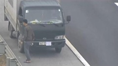 Xe tải lùi trên cao tốc Hà Nội – Hải Phòng, che biển số 'trốn' phạt nguội