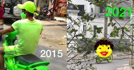 Nam thanh niên 6 năm trước diện cả cây xanh nõn chuối chạy xe ngoài đường khiến dân mạng lóa mắt, 6 năm sau còn gây sốc gấp bội phần