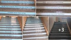 Nhà trường dán mỗi bậc cầu thang một câu slogan về học tập, dân mạng thích thú: Đúng là mỗi bước chân một tri thức
