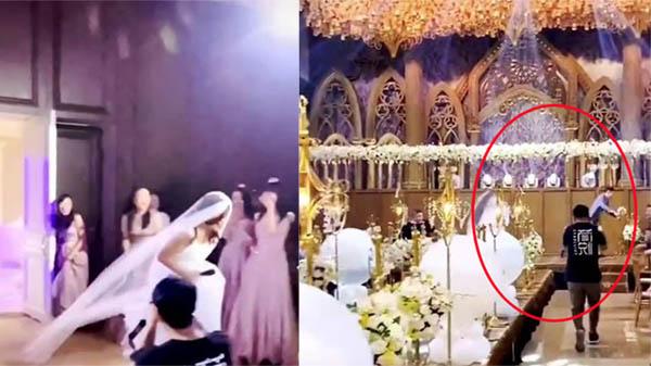 Clip: Cô dâu xông thẳng vào hôn lễ, rượt đuổi khiến chú rể chạy 'bán sống bán chết'
