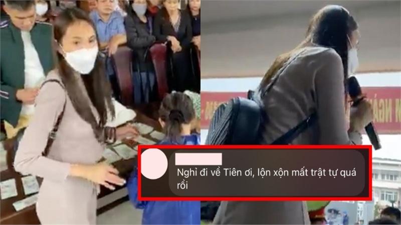 Netizen đề nghị Thủy Tiên và Công Vinh ngưng phát tiền sau cảnh hỗn loạn tại huyện Triệu Phong