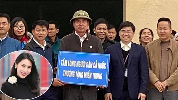 Thuỷ Tiên thông báo trao tặng 20 thuyền cứu hộ cho bà con Nghệ An, tấm bảng trao quà gây chú ý