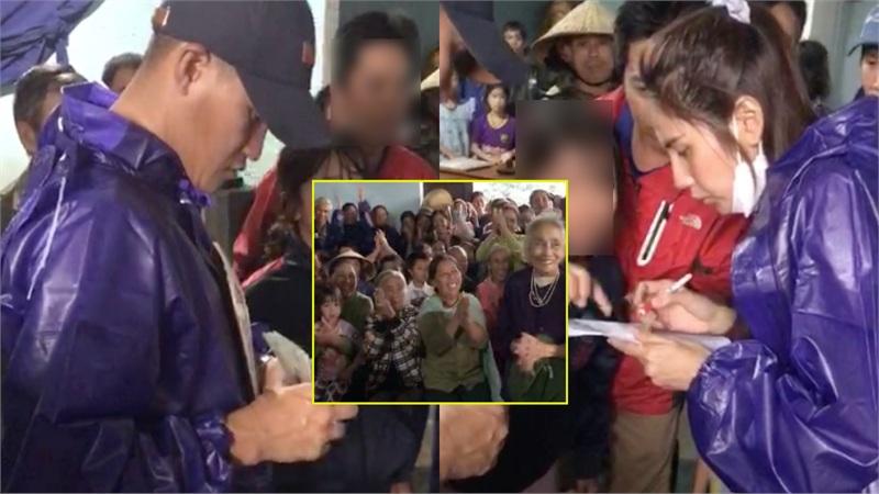 Thủy Tiên - Công Vinh viện trợ ở Quảng Bình, liên tục nhắc câu nói gây xúc động: 'Vợ chồng con thay mặt đồng bào cả nước'