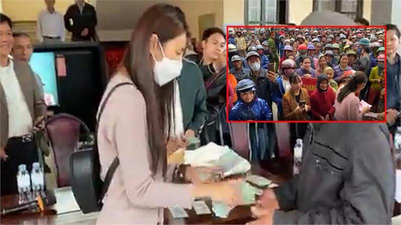 Thủy Tiên ngày thứ 8 viện trợ miền Trung - dân hỗn loạn, nhiều người quay lại khóc lóc xin thêm tiền