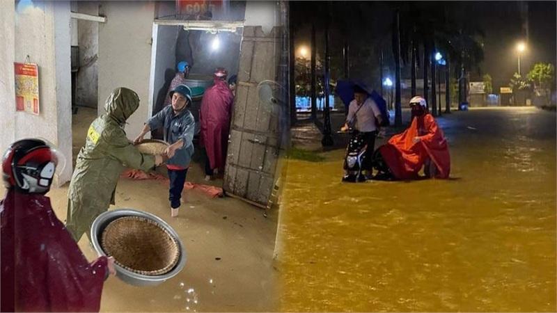 Dân mạng thi nhau chia sẻ hình ảnh mưa lớn khiến nhiều khu vực ở Nghệ An ngập sâu trong biển nước