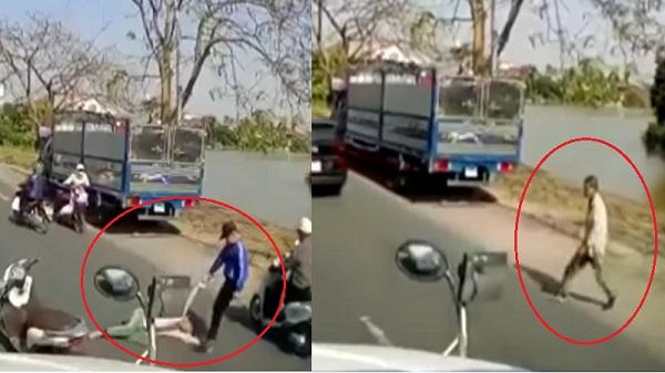 Thấy người đàn ông lê lết xin ăn giữa đường, thanh niên dừng xe có hành động thô bạo nhưng lại được nhiều người đồng tình