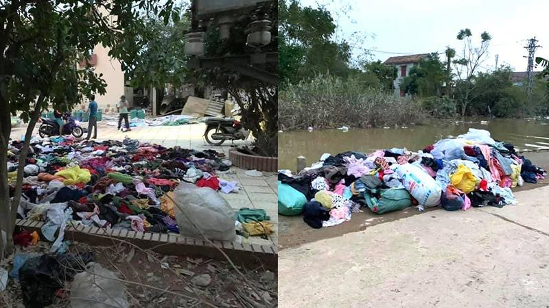 Xôn xao hình ảnh quần áo từ thiện cứu trợ miền Trung bị vứt ngổn ngang dưới đất