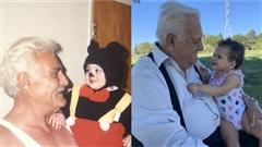 Bức ảnh gây bão: Ông cố bế cháu gái trên tay, 20 năm sau bế con của cháu gái đúng cùng một tư thế