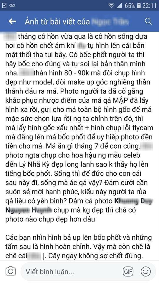 Ảnh chụp màn hình về đoạn status của hot facebooker có tên Ngọc Trần, dùng chính cân nặng của vợ chồng V.H ra để mỉa mai.