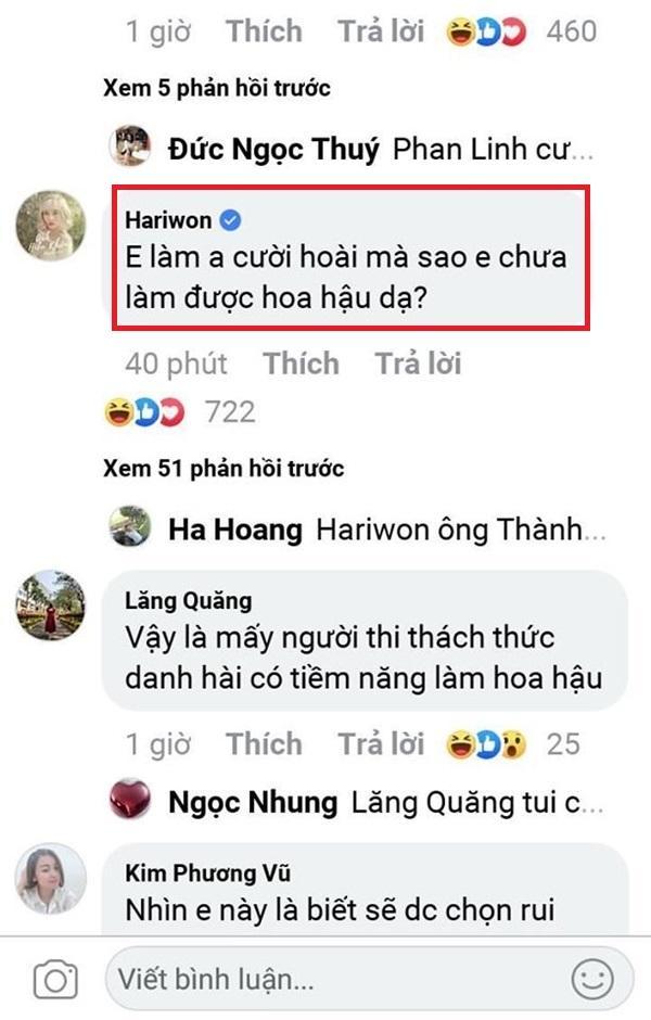Hari Won bình luận dưới dòng trạng thái của Trấn Thành