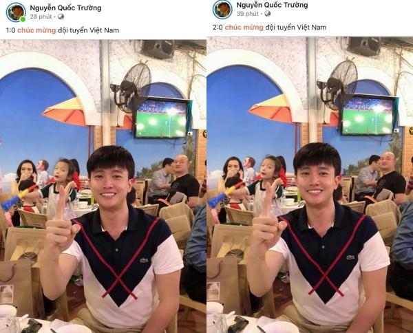 Từ khi Việt Nam mới ghi bàn thắng đầu tiên, 'soái ca Vũ' Quốc Trường đã nhanh taycập nhật ngay cho người hâm mộ.