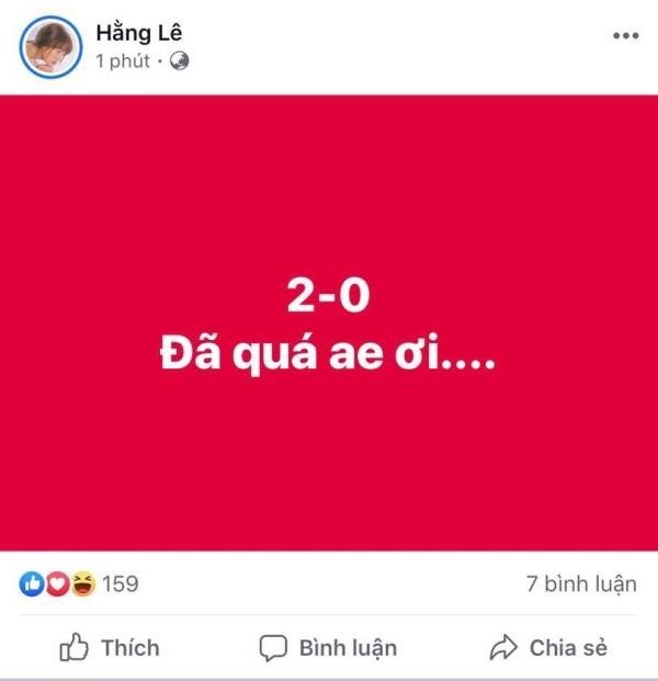 Minh Hằng bật thốt 'Đã quá anh em ơi' khi Việt Nam tiếp tục có bàn thắngthứ 2 trong khi đội bạn vẫn còn 'trống không'.