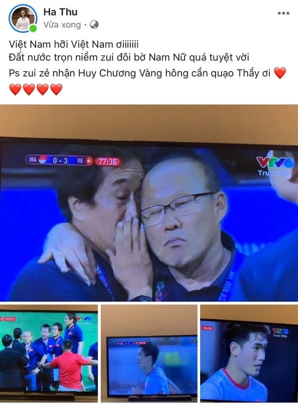 Chúc mừng đội tuyển nhưng không quên 'trêu' thầy Parkchính là Á hậu Hà Thu.