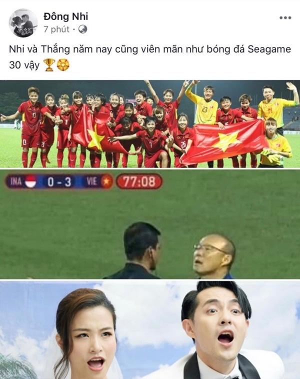 Đông Nhi - Ông Cao Thắng tuy dõi theo bóng đá nhưng cũng không quên 'khoe khéo' tình yêu khiến các fan ghen tị không thôi.